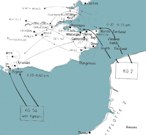 Illustration showing German raid across the English Channel