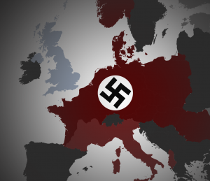 A map of europe showing the extent of Nazi control
