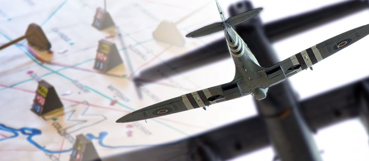 Spitfire intercepting a Lancaster bomber