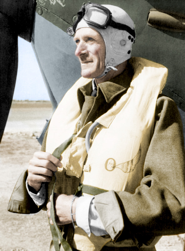 Portrait of Keith Park in front of a Spitfire
