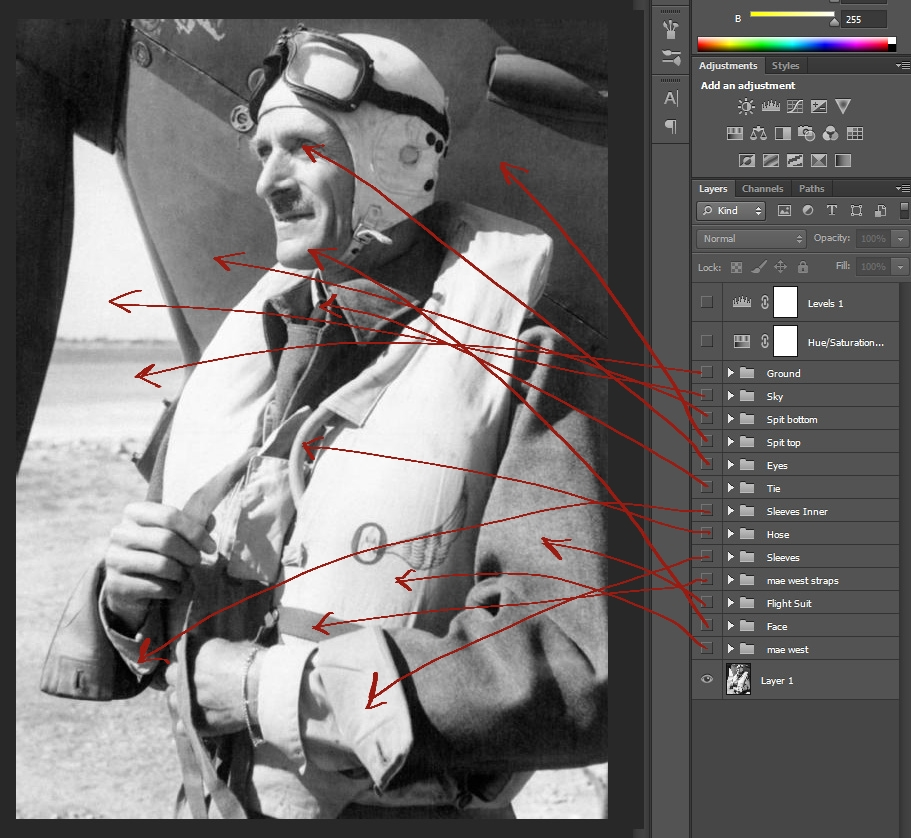 Screenshot of Photoshop with image layer groups