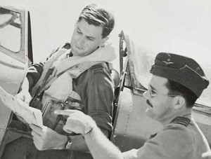 George Westlake in the cockpit of a fighter