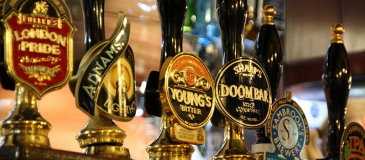 Photo of beer taps at a pub. Courtesy of trombone65 (PhotoArt Laatzen)