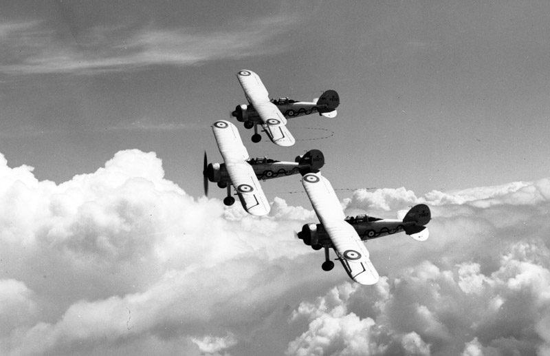 Three Gladiators flying in classic Vic formation