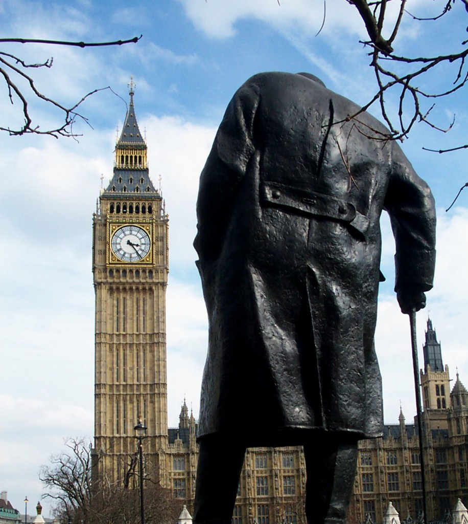 Churchill statue from behind